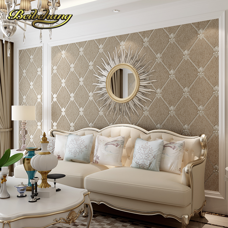 beibehang Simple European box diamond-shaped lattice high-grade deerskin non-woven TV living room bedroom background wallpaper beibehang european soft bag non woven wallpaper bedroom living room tv background lattice diamond shaped relief 3d wallpaper