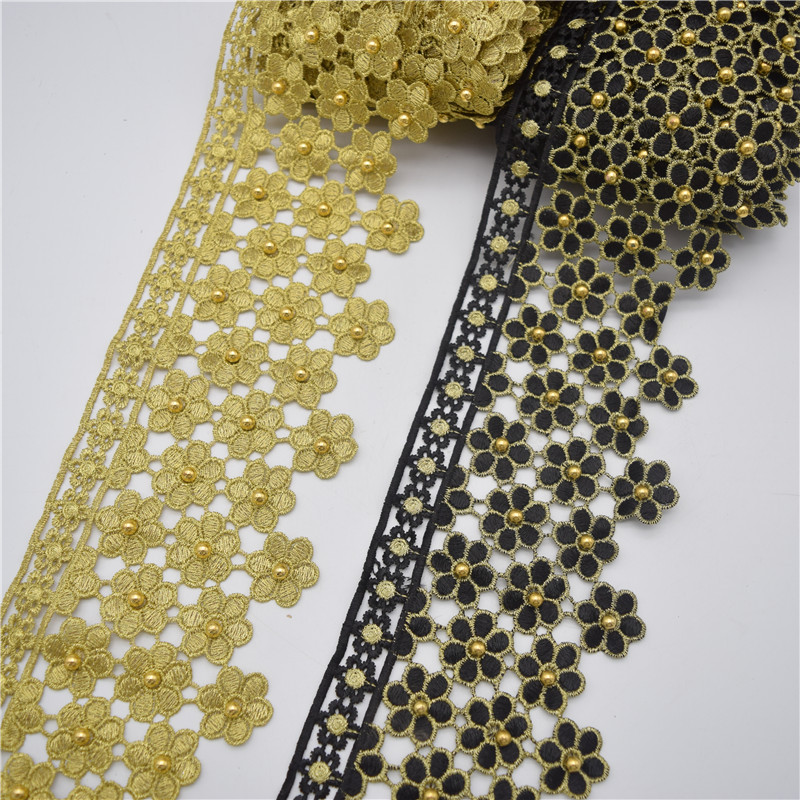 10yards Gold and black beaded Metallic Embroidered Motif Lace Nigeria Venice Trim Crochet Cord Wide 11CM