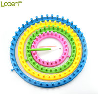 Looen Brand New High Quality 4pcs/set Colorful Round Circle Hat Knitter Knitting Knit Loom DIY Tool Kit Size14cm 19cm 24cm 29cm
