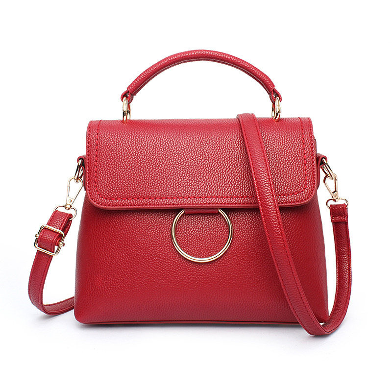 High Quality Wine Red PU Women Handbag Office Lady Tote Round Cercle Crossbody Messenger Zipper