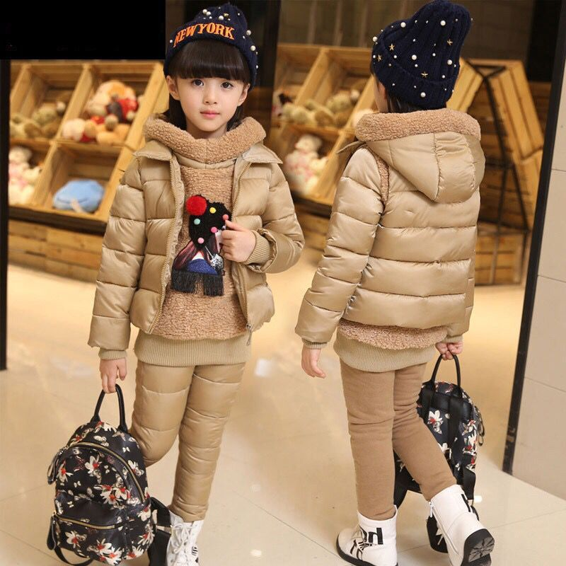 Warm Windproof Cotton Kids Clothes Set Winter Girls 3-Piece Clothing Fashion Child Outfits Children Outerwear For 3-12 Years Old 2017 summer new children s clothing girl plaid sleeveless vest shorts two piece set 12 years old girls clothes kids child