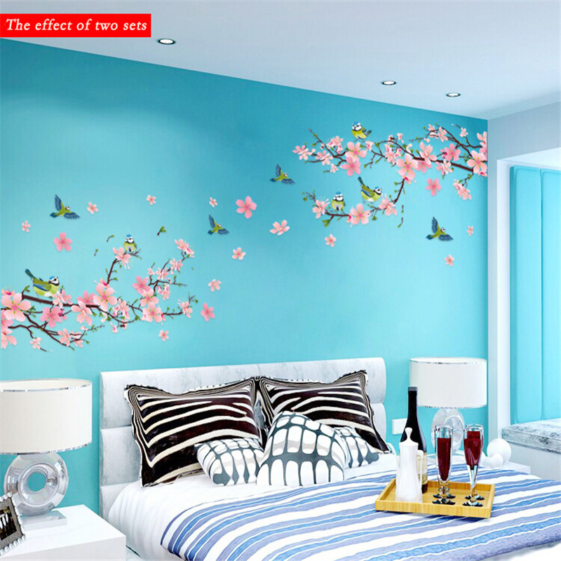 Sakura Wall Stickers Decal Bedroom Living room DIY Flower ...