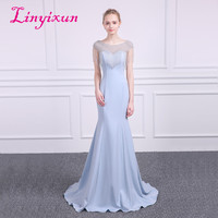 Linyixun Sexy Bling Bling Mermaid Prom Dresses 2018 Lavender Beauty Scoop Neck Cap sleeve Vintage Evening Dress Long Prom gowns