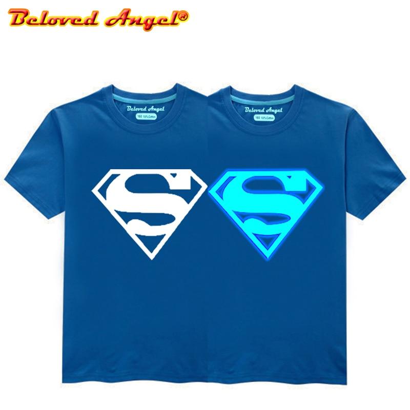 Luminous Children T Shirt Kids Boys Tops Glow In Dark T-Shirt For Teens Avengers Cartoon Tops For Girls Sports Clothes Baby Tees