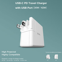 JCPAL USB C Travel Charger with USB Port 30W USB C PD Port and USB A Port Includes US EU and UK Travel Plugs 53113
