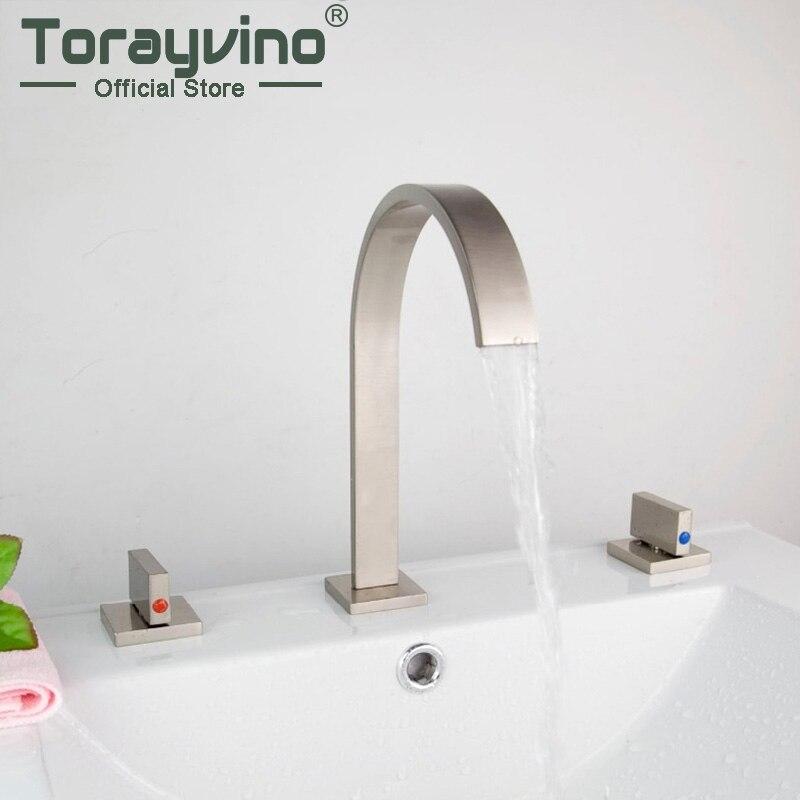 New Wholesale 3 pcs Deck Mounted Bathroom Mixer Tap Bath Basin Sink Faucet Nickel Brushed Vanity Faucet 04A Mixer Tap Faucet