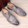 Classic Vintage Pointed Toe Leather Shoes Men Brogue Carving Business Dress Flats Breathable Moccasins Male Oxfords 1/5