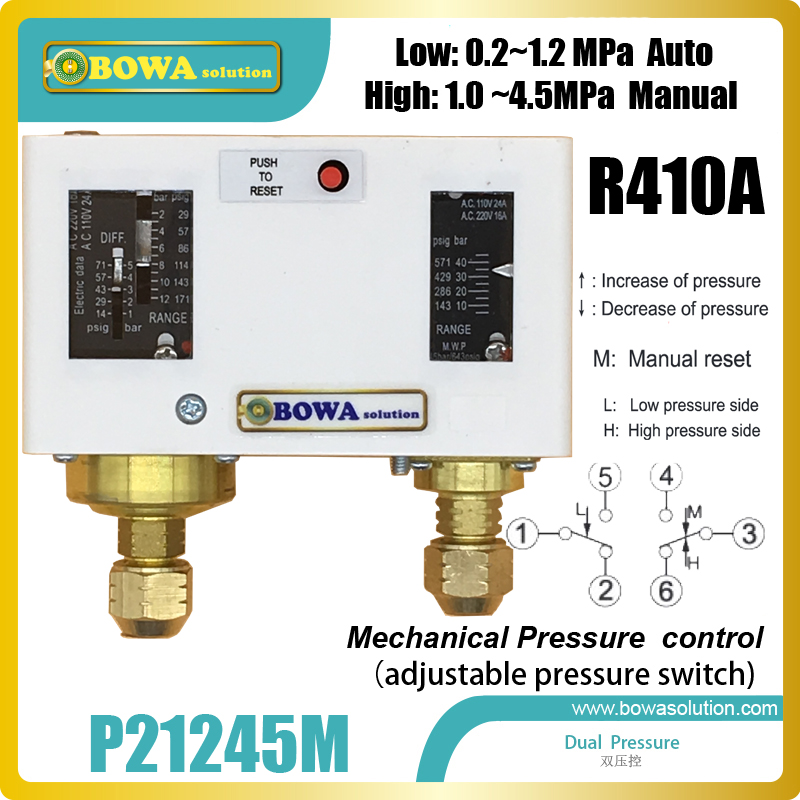R410a dual mechanical pressure switch whose pressure range and differenital pressure is adjustable,suitable for heat pump units 11kw heating capacity r410a to water and 4 5mpa working pressure plate heat exchanger is used in r410a heat pump air conditioner
