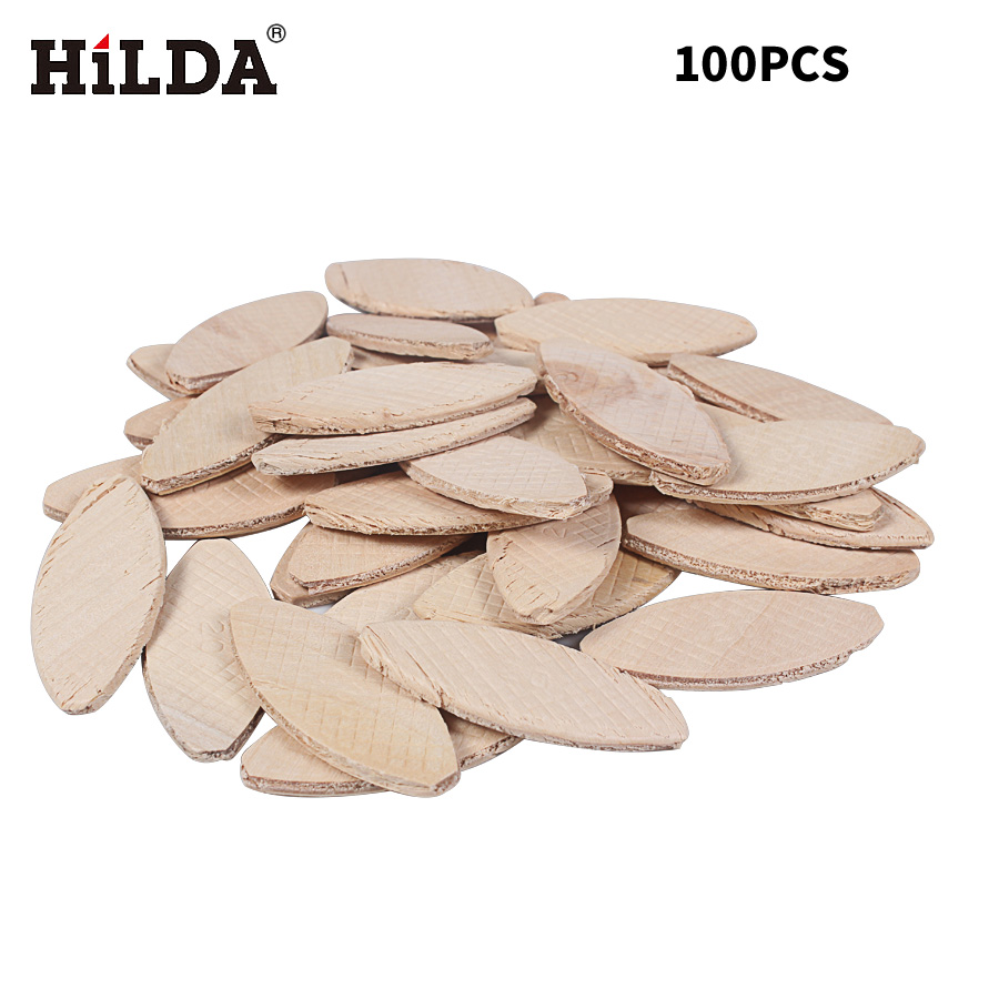 HILDA 100PCS No. 20# Assorted Wood Biscuits For Tenon Machine Woodworking Biscuit Jointer