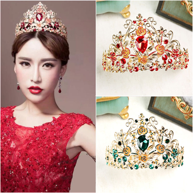 Vintage Green Red Crystal Tiaras Crowns Wedding Bride Hair Ornaments Bridal Gold Crown Party Head[oece Jewelry Accessory CR111 mi happiness red bride wedding hair tiaras gorgeous hair jewelry hanfu costume hair accessory