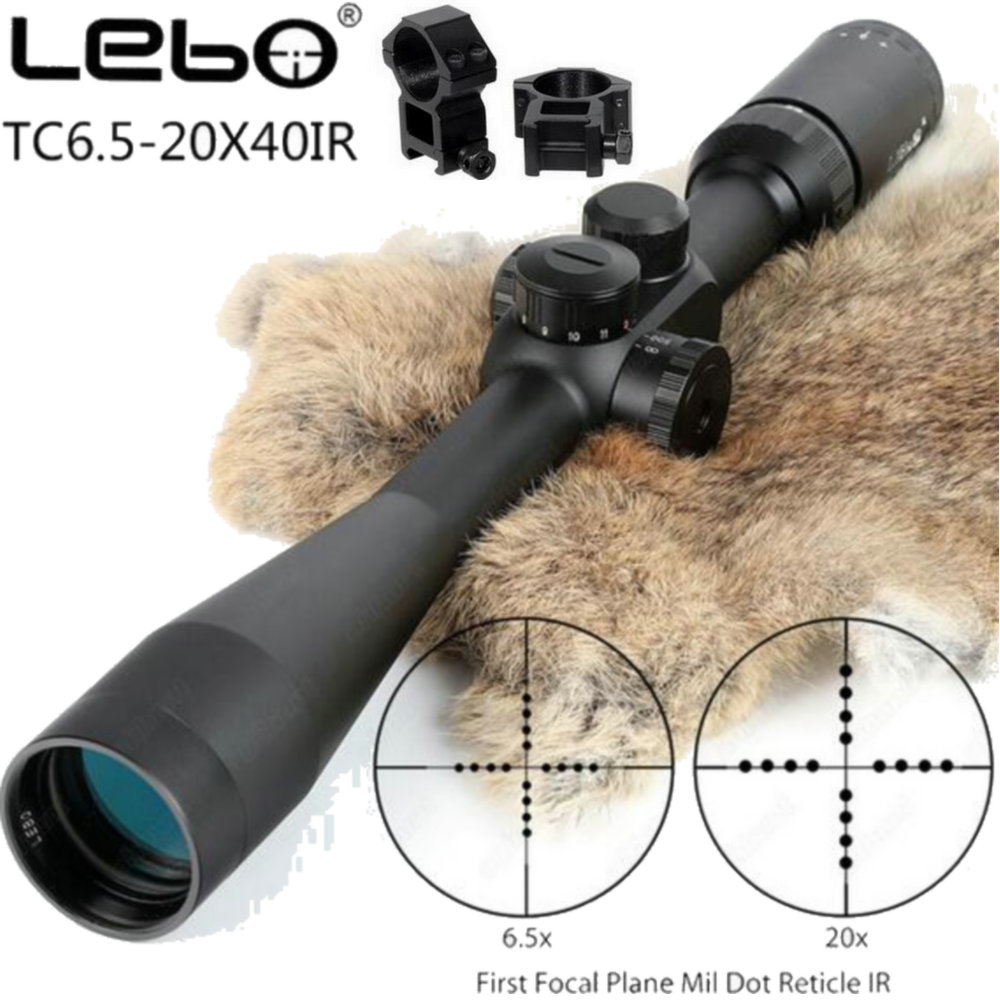 LEBO TC 6.5-20x40 SP Riflescopes First Focal Plane Side Parallax Mil-dot Glass Etched Reticle Hunting Tactical Rifle Scope