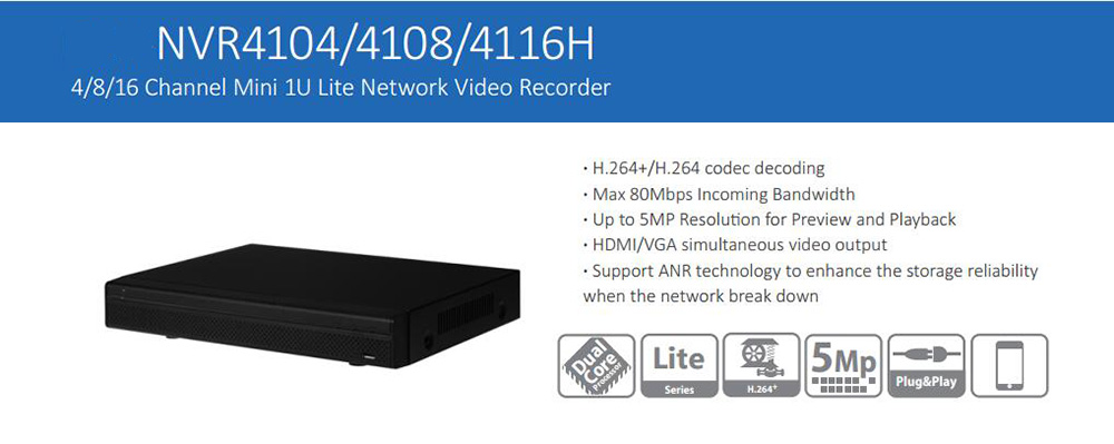 dahua p2p 4k nvr 4ch 8ch 16ch video recorder nvr4104hs 4ks2 nvr4108hs 4ks2 nvr4116hs 4ks2 h 265 8mp resolution DAHUA 4ch/8ch/16ch Mini 1U NVR Latest DAHUA Network Video Recorder without Logo NVR4104H/NVR4108H/NVR4116H