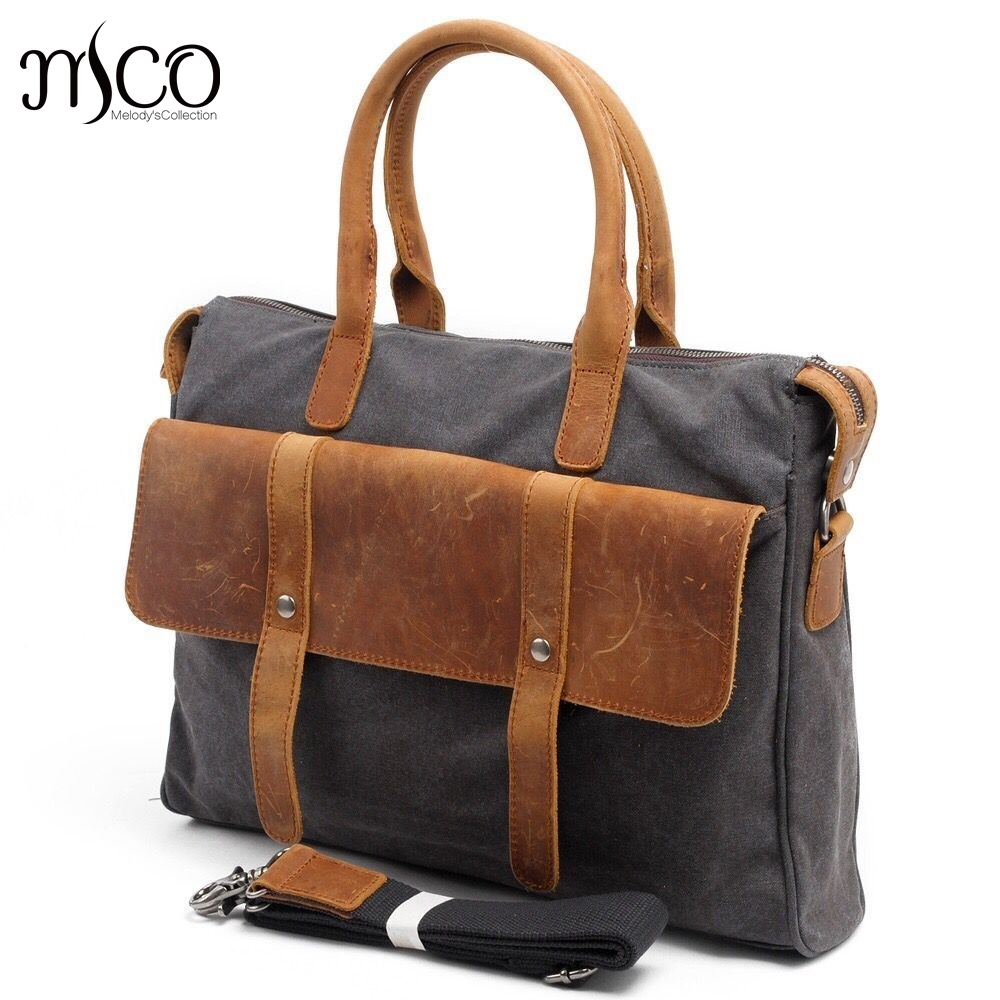 New canvas Briefcase bag vintage men messenger bags designer handbags high quality leisure bag Military style laptop travel bag