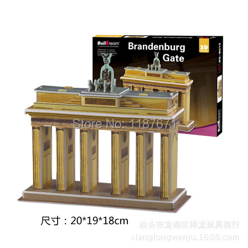 Paper Model Diy brandenburg Enlighten Blocks Construction Brick Educational Block Toys scale models Sets brinquedos playmobil