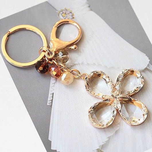 Высокое качество большой хрустальный клевера брелок бусины шарм брелок женщины сумочку на молнии для любовника подарка ювелирные изделия