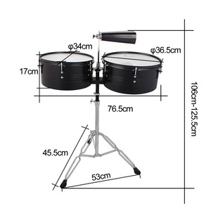 """Image 2 - 13"""" & 14"""" Timbales Drum Set With A Premium Steel Cowbell A pair of Drum Sticks and Cowbell Holder High Quality Training Drum"""