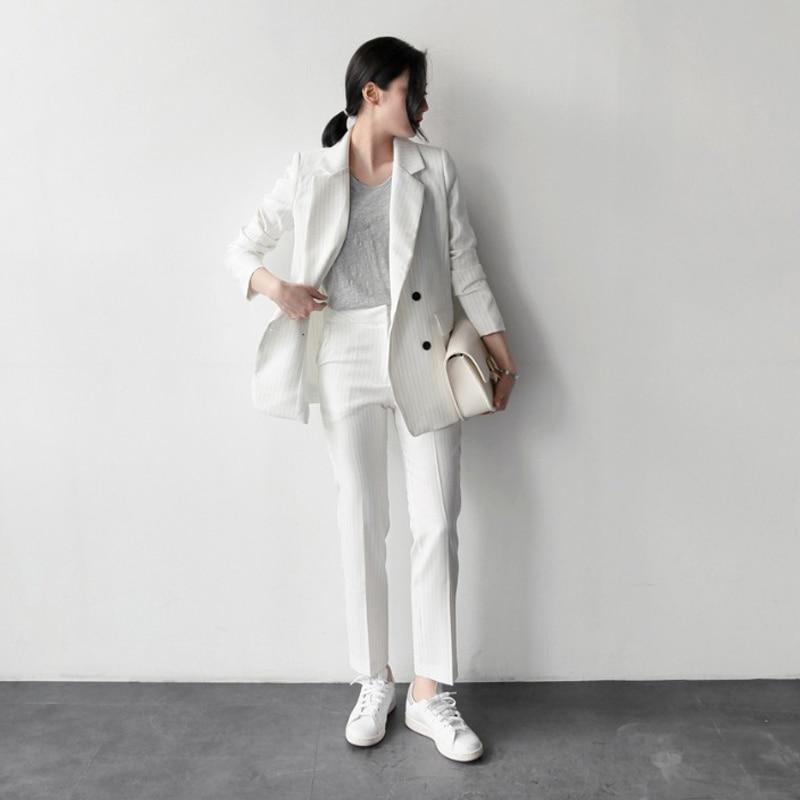 2019 Autumn Women's Fashion Classic Striped Suit Suits Female Korean Version Of The Professional Suit Temperament Two-piece Sets