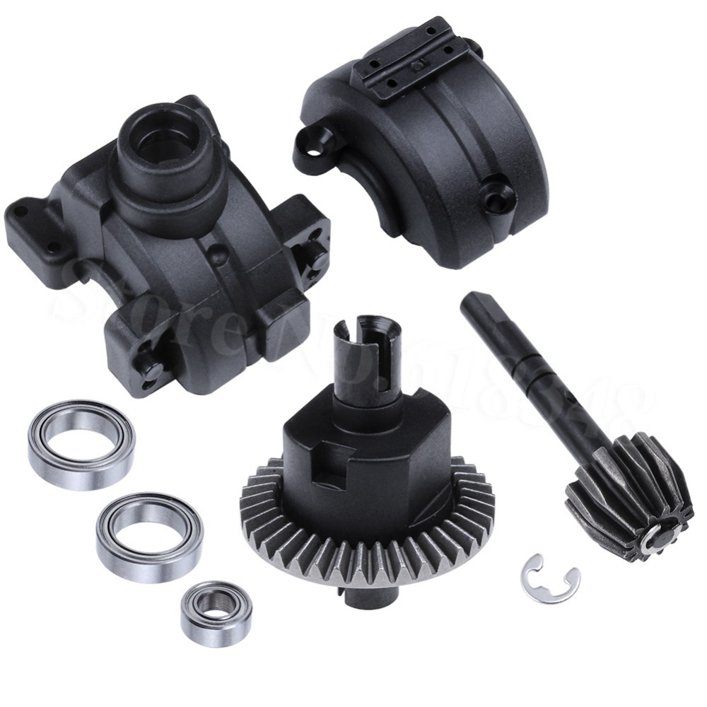 Rear Gear Box Housing Complete Set Drive & Diff Gear For Redcat HSP 1/10 RC Car Parts 03015 02051 94123 94106 94107 94111 94108 hsp 62005 centre diff gear complete 1 8 scale models spare parts for rc car remote control cars toys himoto 94760 94761 94763