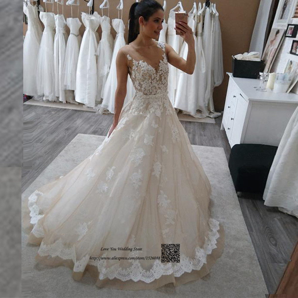 Champagne Lace Wedding Gown: Vestido De Casamento Princess Wedding Dress Champagne Lace