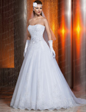 Ball Gown Strapless Appliqued Court Train White Imported Wedding Dresses Bridal Gown With Handmade Flower Size 2 VP026