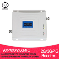 ZQTMAX 2g 3g 4g signal booster Tri Band repeater 900 1800 2100 GSM WCDMA UMTS LTE DCS 1800 Cellular Repeater Amplifier 70dB