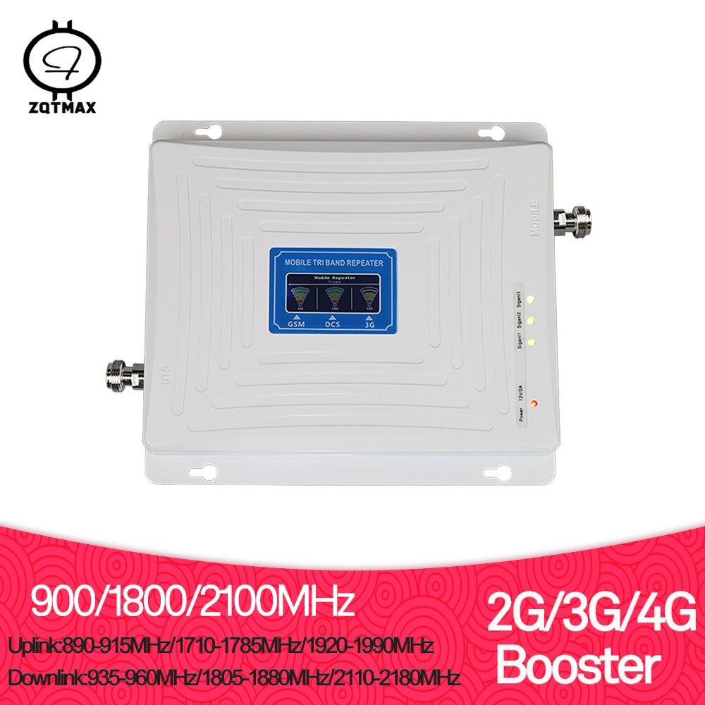 ZQTMAX 2g 3g 4g signal booster Tri bande répéteur 900 1800 2100 GSM WCDMA UMTS LTE DCS 1800 cellulaire répéteur amplificateur 70dB