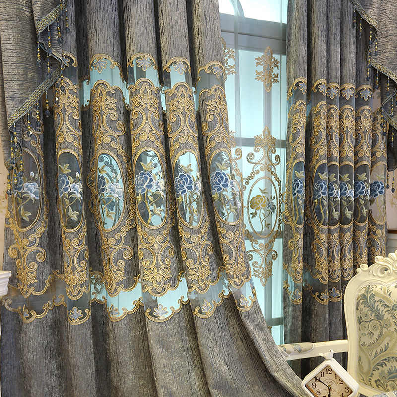 Jacquard Embroidered Valance Curtains for Living Room Window Curtains Tulle Floral Luxury Europe for Bedroom Door Kitchen Drapes