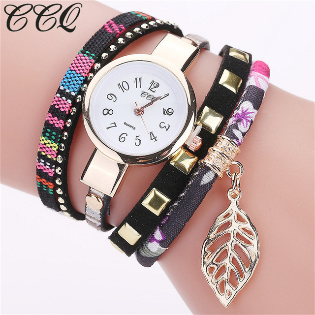 Top Brand Fashion Ladies Watch Luxury Rhinestone Leather Bracelet Watch Women Ca
