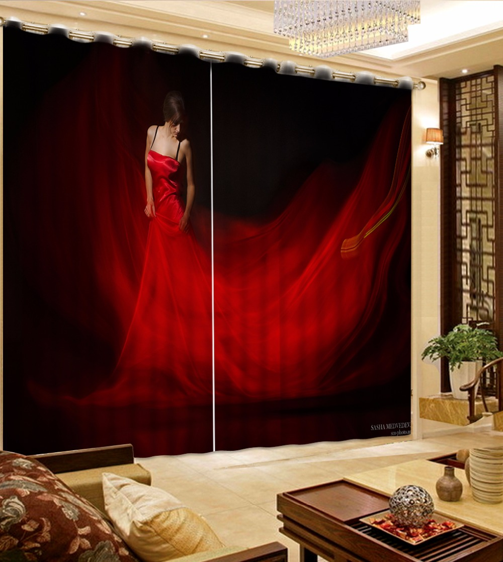 Luxury Curtains Blackout Woman 3D Curtains For The Living Room Bedroom Red Curtains Creative Blackout Drapes
