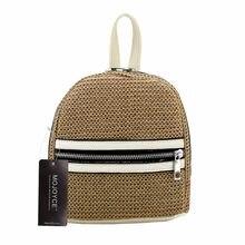 920b156f73 Summer Women Straw Weaving Backpack Female Lovely Cute Mini Travel Beach  Rucksack Girls Casual Khaki School