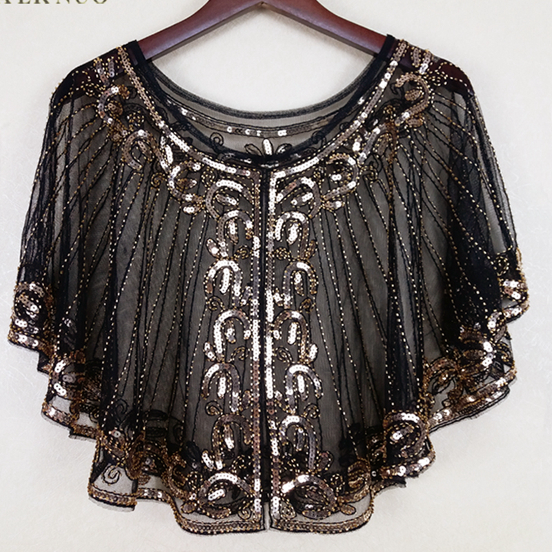 c67d582f4b Vintage 1920s Flapper Shawl Sequin Beaded Short Cape Beaded Decoration  Gatsby Party Mesh Short Cover Up
