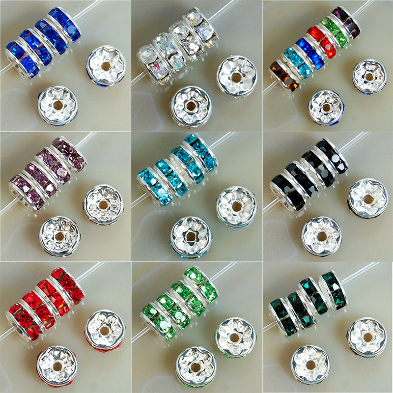 100Pcs 6/8mm Metal Crystal Rhinestone Rondelle Spacer Beads For Bracelet  Necklace DIY B00376