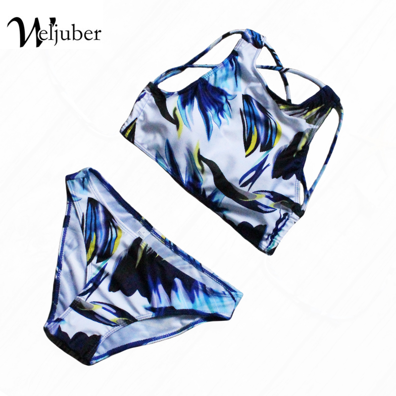 2017 Women Bikini Set Padded Print Sexy Bikinis Push Up Swimwear Female Swimsuit Bathing Suit Brazilian Bandage Biquini Bottom