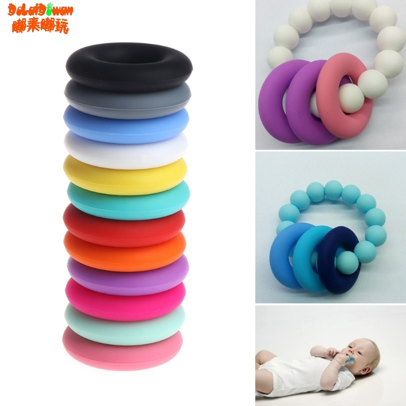 Food Grade Siilicone DIY Baby Teething Nursing Necklace Pendant Beads Doughnut Teether Relief Pain Ring