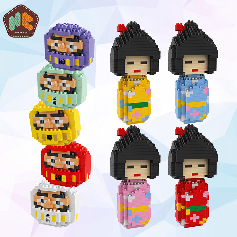HC Magic Diamond Building Blocks Bricks Cartoon Japanese Wood Dolls Dharma DIY Anime Friend Blocks Educational Toys for Children