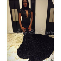 Long Sleeve African Prom Dress Mermaid 2017 Sheer See Through Backless Court Train 3D Flower Floral Prom Dresses For Black Girls