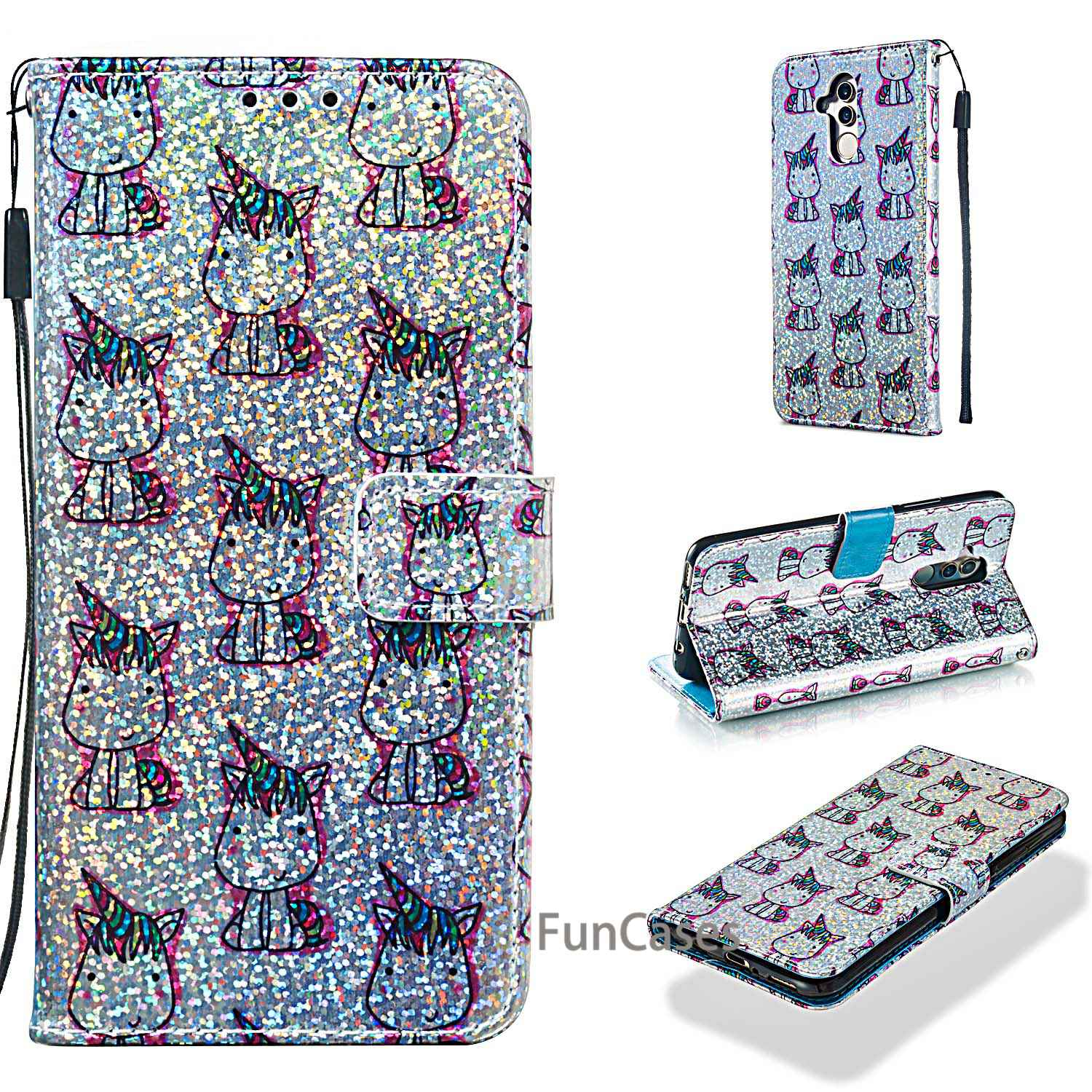 Bling Glitter Case For Huawei <font><b>Mate</b></font> <font><b>20</b></font> <font><b>Lite</b></font> Case PU Leather Wallet Phone Case Huawei <font><b>Mate</b></font> <font><b>20</b></font> <font><b>Lite</b></font> Luxury Flip Leather Cover <font><b>Capa</b></font> image