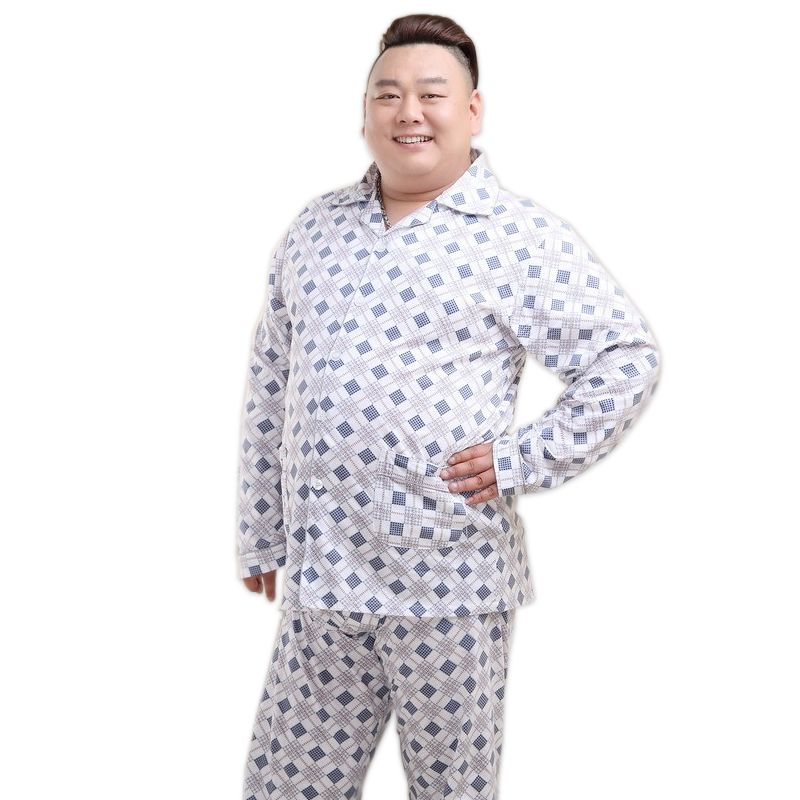 Plus Size 5XL 100% Cotton Thin Pajama Sets Men Spring Summer Casual Plaid Pyjamas Mens Sleepwear Homewear Pijama Hombre