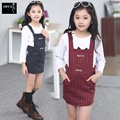 2016 Girl Evening Dress Spring Autumn Kids Clothes Girls Long Style T-Shirts+Overalls Dress Ropa De Ninas Girls Costumes Dresses
