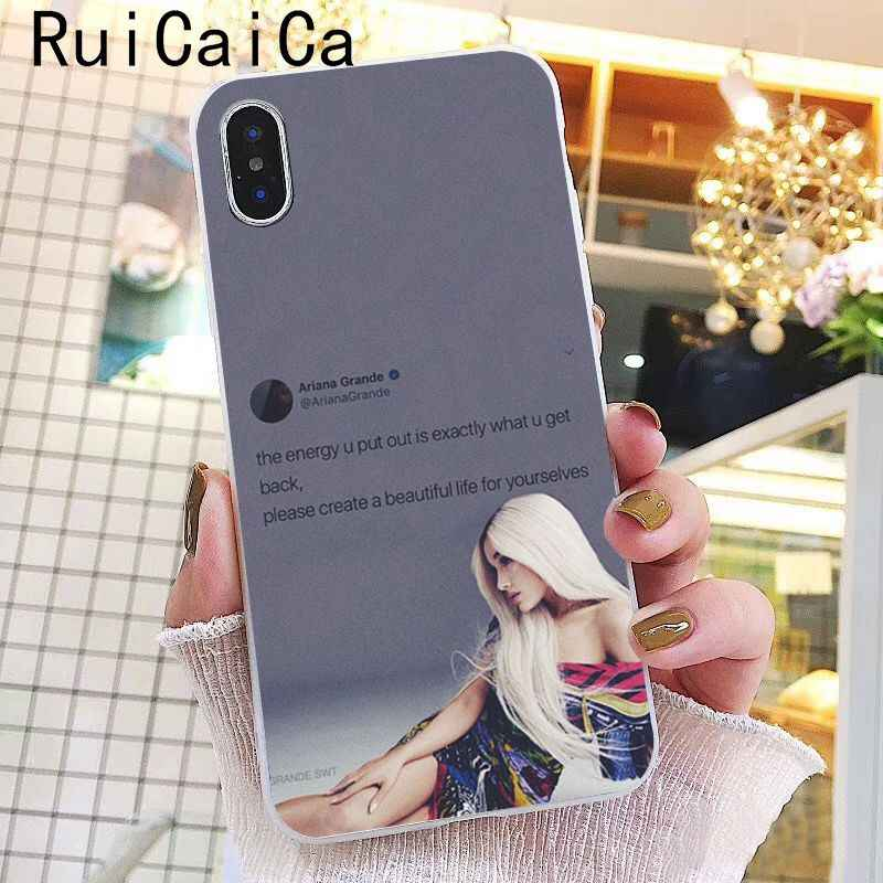 Ruicaica Ariana Grande พระเจ้าผู้หญิง DIY การพิมพ์กรณีโทรศัพท์สำหรับ iPhone 8 7 6 6 S Plus X XS MAX 5 5 S SE XR 10 ฝาครอบ