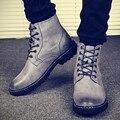 Outono Homens Botas de Trabalho Tornozelo Botas De Cowboy Homens Sapatos Marrom Rendas Até Motocicleta Botas Militares Para Os Homens Apartamentos Botas Hombre