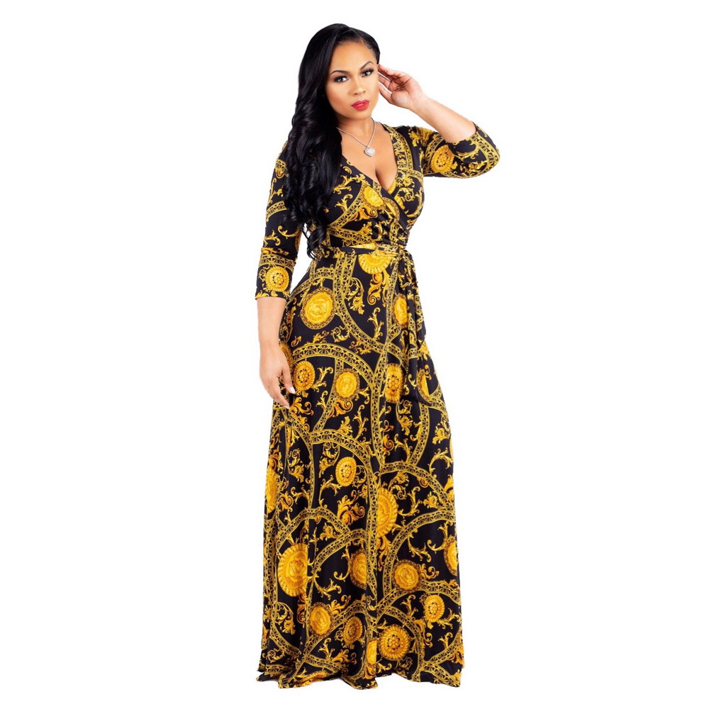a9b7f5b01c 2018 Summer Dress Sexy Deep V Neck Beach Casual Tunic Femme Vestidos Half  Sleeve Boho Floral Printed Women Long Maxi Dresses