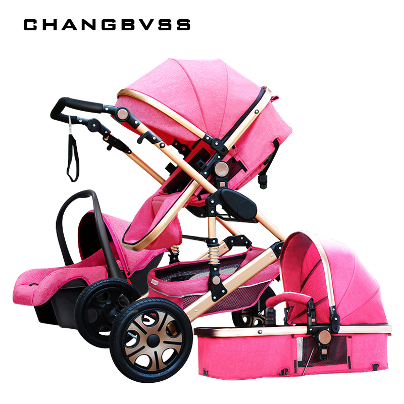 Luxury Fashion Baby Stroller 3 in 1 Foldable Infant Trolley,High Landscape Baby stroller Sit and Lie Baby Pushchair ,poussette все цены