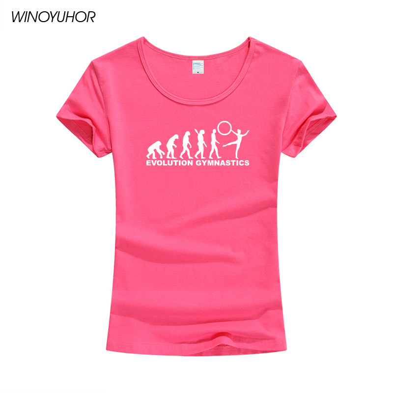 Summer Short Sleeves Cotton T-shirt Women Evolution Of Gymnastics Printing O-Neck T Shirts Summer Fashion Female Tops Tee