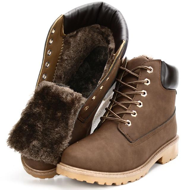 Замши человек загрузки Зимние мужские ботинки лодыжки обувь теплый снег бархат меха работы мартин ковбой мотоцикл мужской обуви кружева-вверх