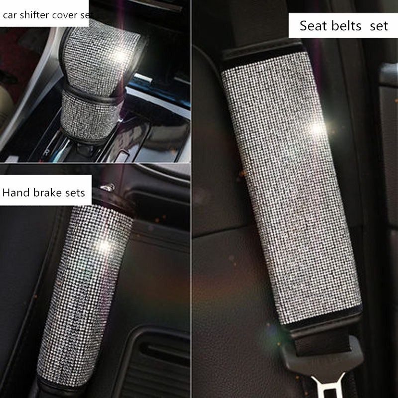 Crystal Rhinestone Car Shifter Covers Car Hand Brake Grips Set Seat Belt Protector Car Interior