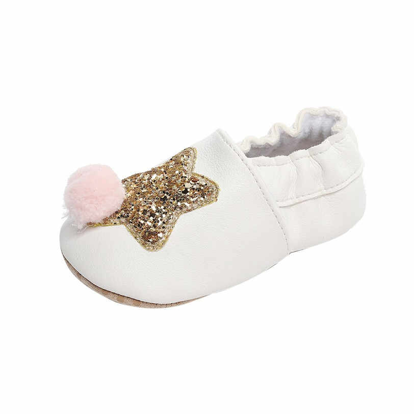 7bc53697650d ... Baby Shoes Boys Girls Kids First Walkers PU Leather Spring Autumn Bling  Bling Five Star Patterns ...