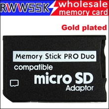 200 Stks/partij Micro Sd Adapter Naar Ms Card Vergulde Ms Pro Duo Adapter Tf Kaartlezer Memory Stick tot 16Gb