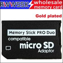 200 pièces/lot Micro SD carte adaptateur à MS carte plaqué or MS Pro Duo adaptateur TF carte lecteur mémoire Stick jusquà 16GB