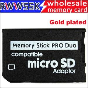 Image 1 - 200 teile/los Micro Sd karte Adapter zu MS Karte Gold überzogene MS Pro Duo Adapter TF Kartenleser Memory Stick bis zu 16GB